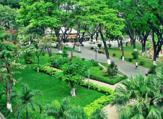 Khung cảnh trong xanh, mát mẻ tại công viên Hoàng Văn Thụ