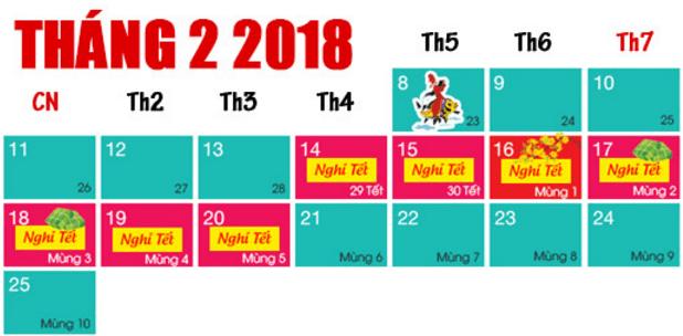 Lịch nghỉ Tết Âm lịch Mậu Tuất năm 2018