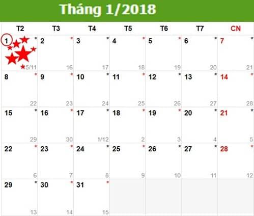 Lịch nghỉ Tết Dương lịch năm 2018