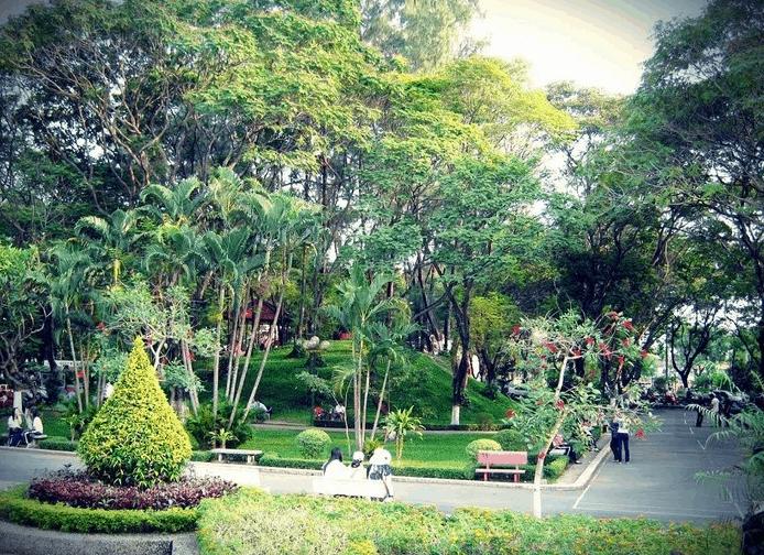Lối vào công viên Hoàng Văn Thụ ngậm tràn màu sắc hoa lá, cây cỏ