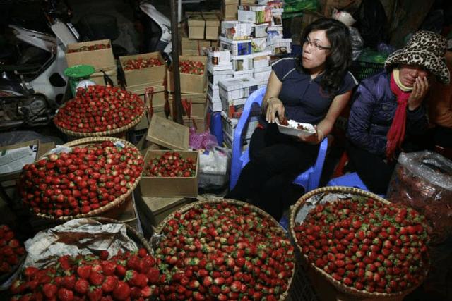 Những hoa quả được bày bán rất nhiều tại phố đi bộ Đà Lạt