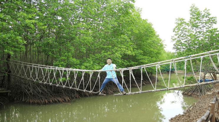 Cầu tre ở khu du lịch Ba Láng (Ảnh ST)