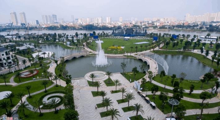 Hình ảnh công viên ven sông ở Khu dân cư Tân Quy Đông