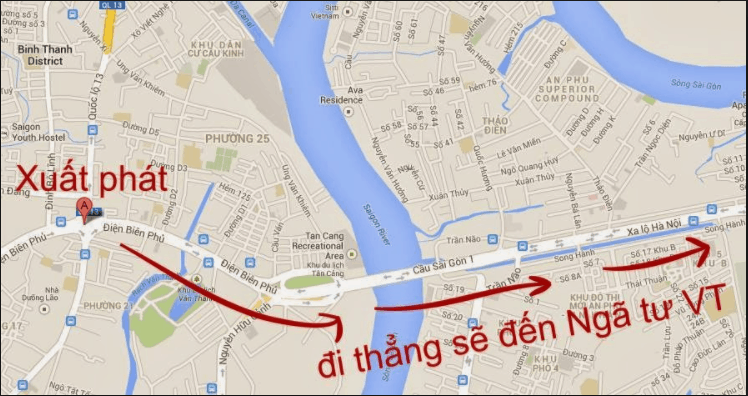 Bản đồ chỉ đường đến Vũng Tàu