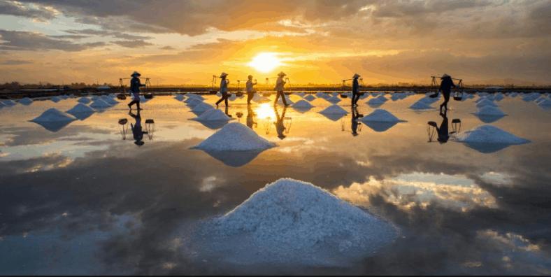 Những ruộng muối trắng trên đảo Thạnh An