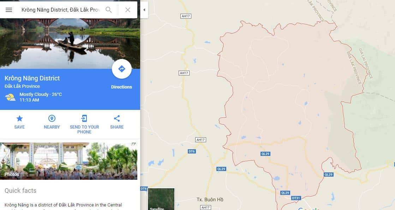 Bàn đồ Google của khu du lịch Krông Năng. (Ảnh ST)