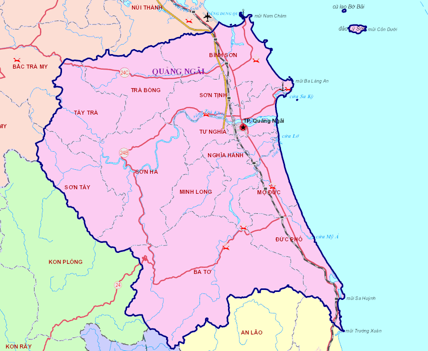 Toàn cảnh bản đồ du lịch Quảng Ngãi. (Ảnh ST)