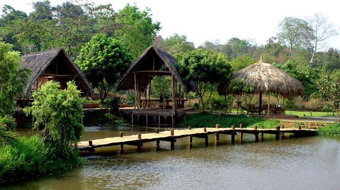 Cầu tre nhỏ dẫn qua những mặt hồ thật đẹp và yên bình (Ảnh: ST)