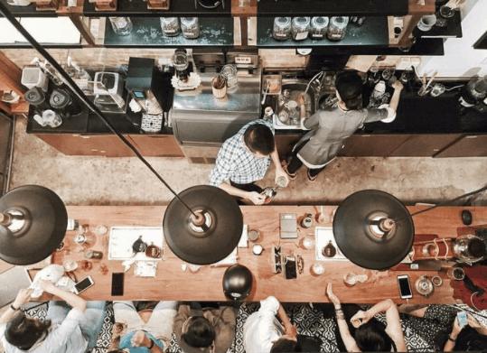 Góc chụp trên cao ảo diệu tại quán cà phê Thinker n Dreamer