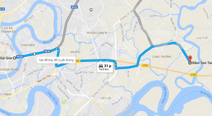 Hình ảnh bản đồ dẫn đường tới đầm sen Tam Đa