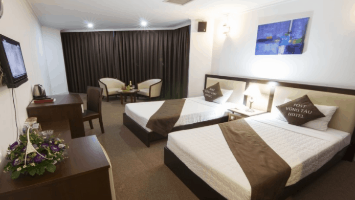 Không gian phòng nghỉ hiện đại, đầy đủ tiện nghi tại khách sạn Vũng Tàu P&T
