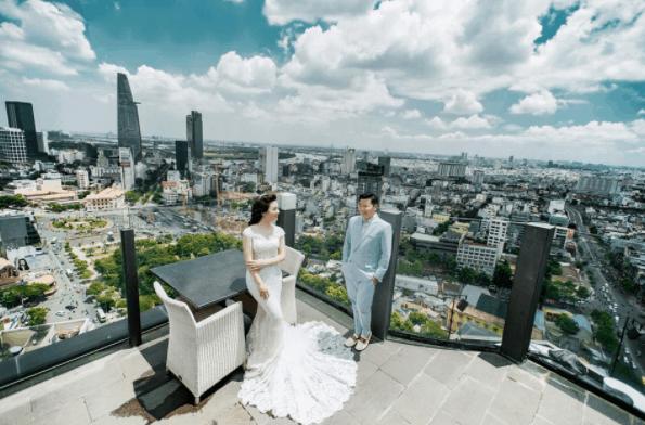 Romantic wedding photo scene taken at Bitexco