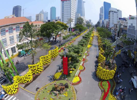 Khung cảnh phố đi bộ Nguyễn Huệ những ngày tết