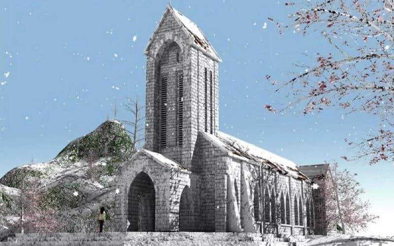 Nhà thờ đá Sapa mùa tuyết rơi
