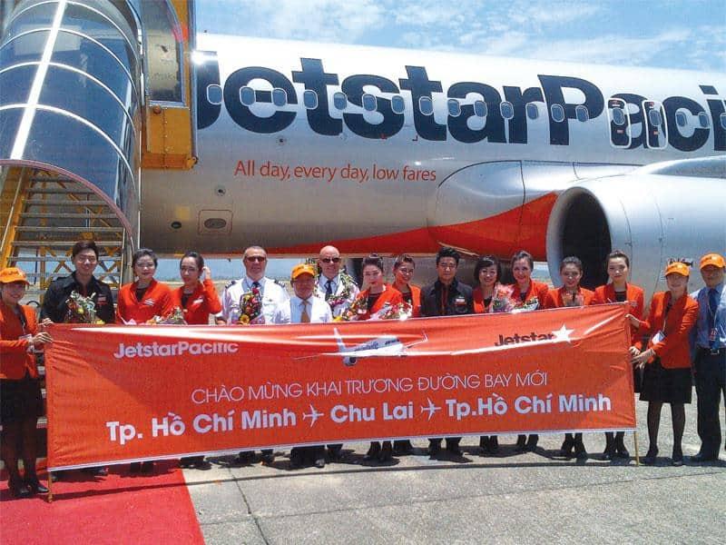 Buổi khai trương của Jetstar Pacific tại sân bay Chu Lai. (Ảnh ST)
