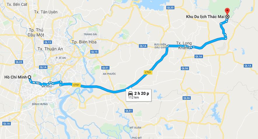 Bản đồ đường đi tới khu du lịch thác Mai
