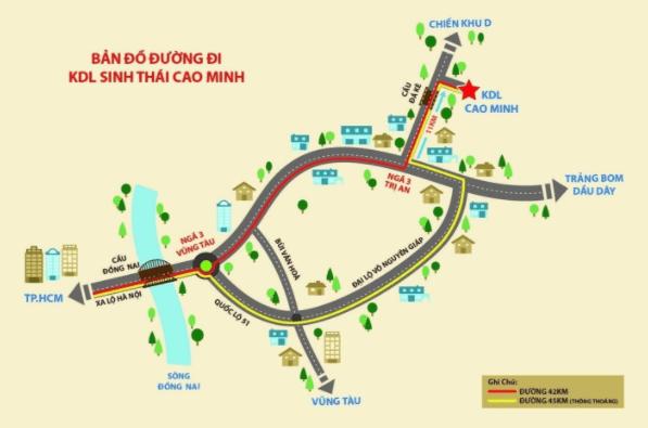 Bản đồ đường đi tới khu du lịch sinh thái Cao Minh