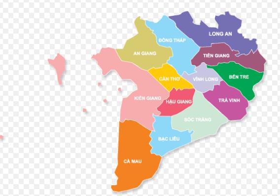 Bản đồ các tỉnh miền Tây Nam Bộ
