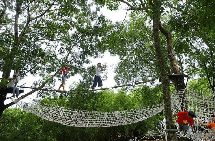 Trải nghiệm trò chơi trên cây cầu dây lắc lu thú vị