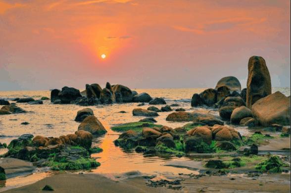 Bãi đá Cổ Thạch tạo nên vẻ đẹp ma mị cho biển Cổ Thạch