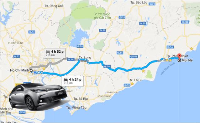 Bản đồ đường đi từ Sài Gòn đến Phan Thiết