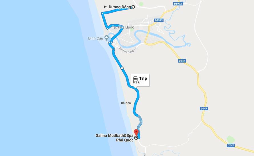 Bản đồ đường đi tới khu nghỉ dưỡng Galina Phú Quốc