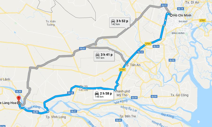 Bản đồ đường đi tới làng hoa Sa Đéc Đồng Tháp