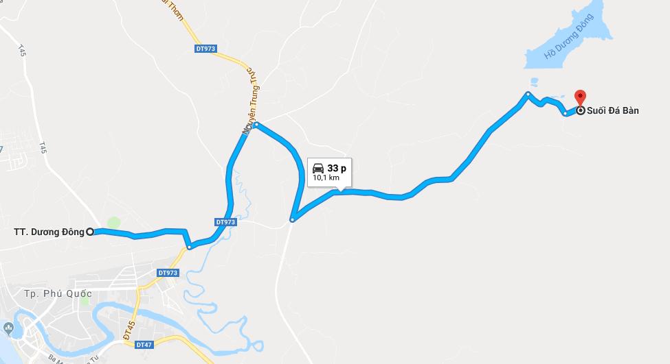 Bản đồ đường đi tới suối Đá Bàn Phú Quốc