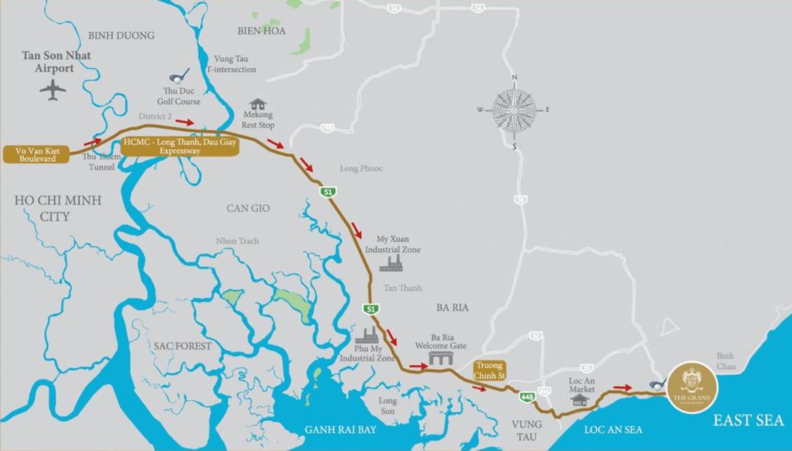 Bản đồ đường đi tới The Grand Hồ Tràm Strip