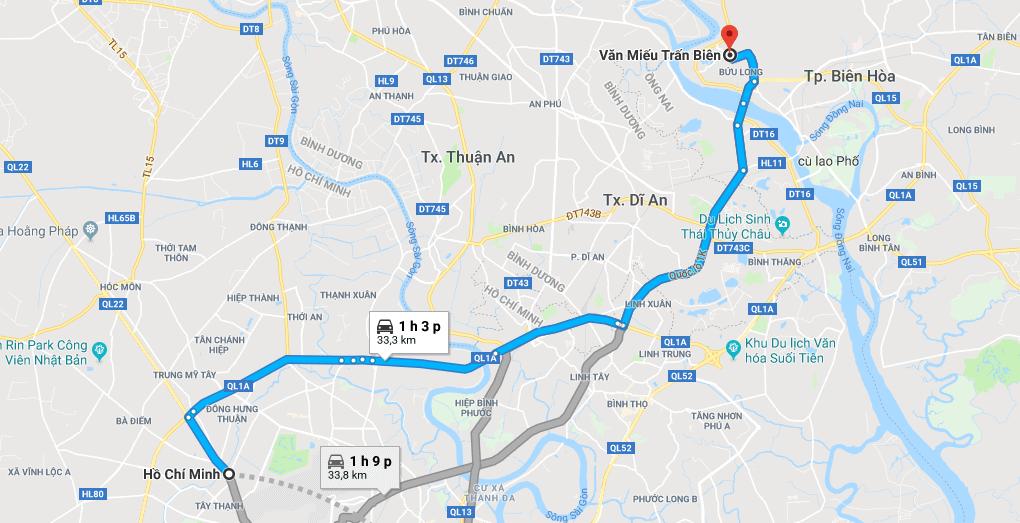 Bản đồ đường đi tới văn miếu Trấn Biên