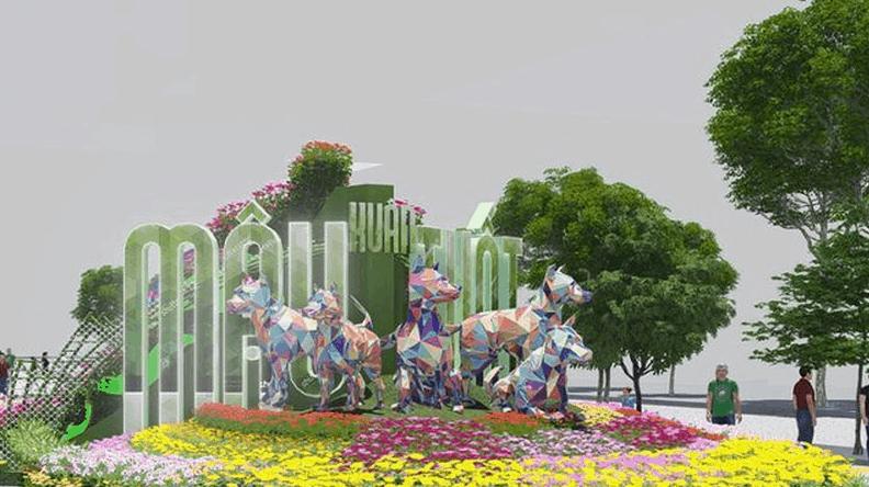 Linh vật đường hoa Nguyễn Huệ năm nay