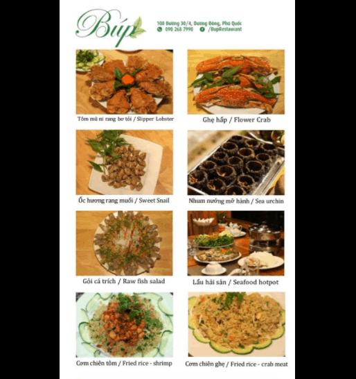 Menu đồ ăn tại nhà hàng Búp Restaurant