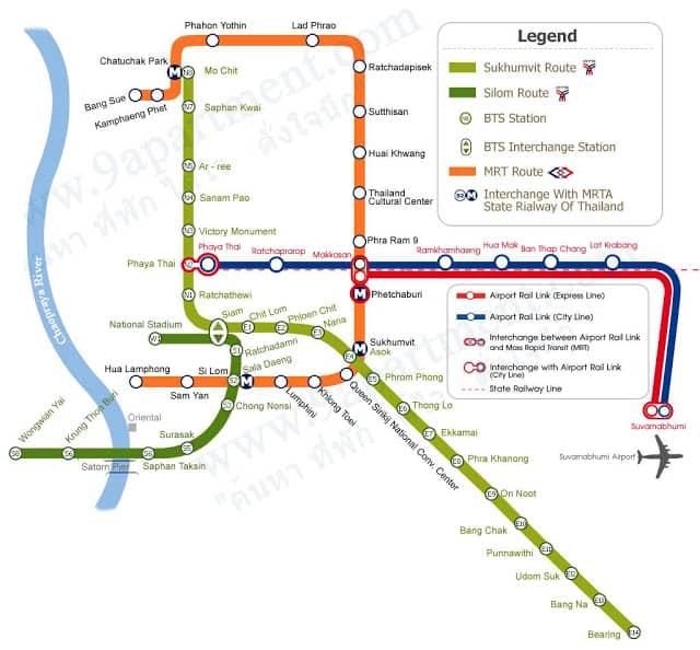 Bàn đồ hệ thống tàu điện cho du khách du lịch Thái Lan tự túc (ẢNH ST)