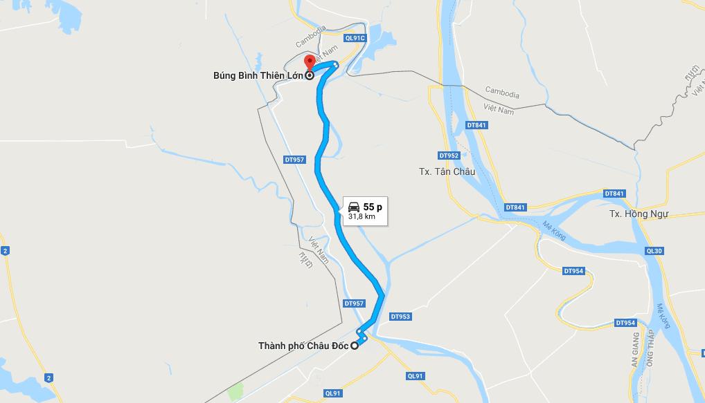 Bản đồ đường đi tới Búng Bình Thiên An Giang