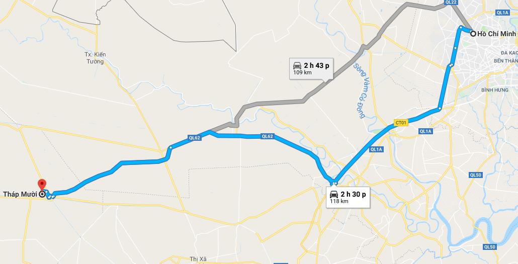 Bản đồ đường đi tới Đồng Tháp Mười
