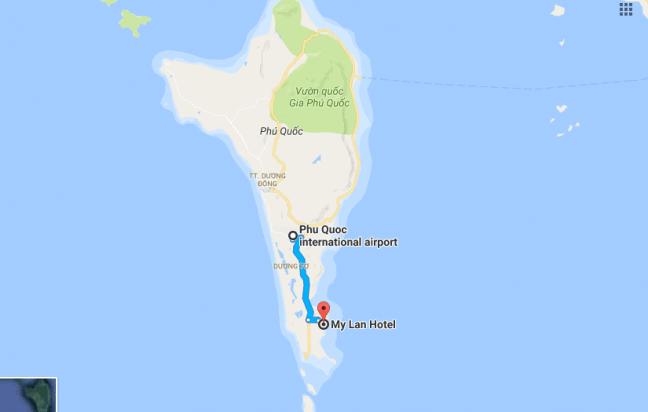 Bản đồ đường đi tới khách sạn Mỹ Lan Phú Quốc