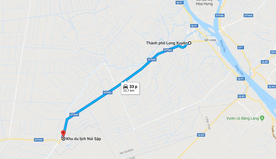 Bản đồ đường đi tới khu du lịch Núi Sập