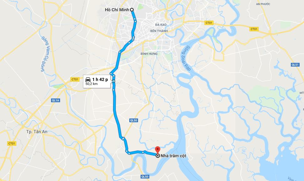 Bản đồ đường đi tới nhà Trăm Cột Long An