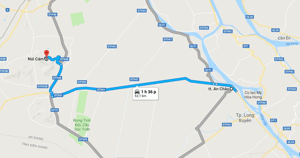 Bản đồ đường đi tới núi Cấm