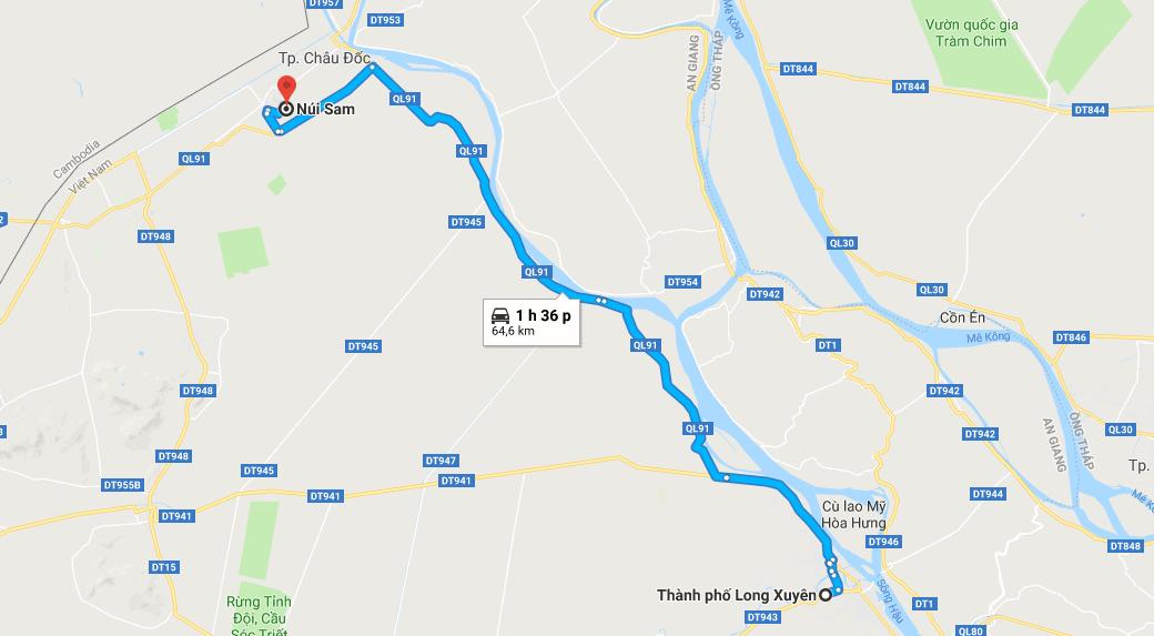 Bản đồ đường đi tới núi Sam - Châu Đốc