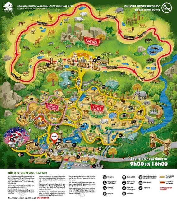 Bản đồ vườn thú Vinpearl Safari Phú Quốc