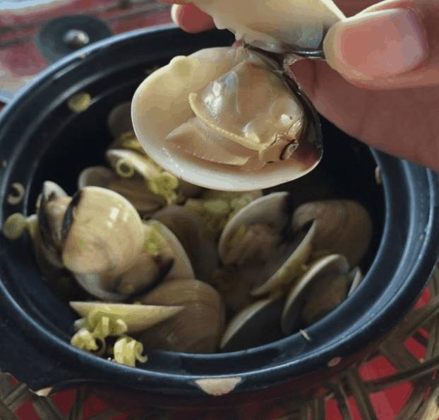 Thưởng thức món ngao hấp thơm ngon tại biển Thạnh Phú
