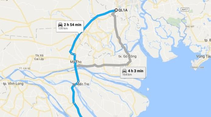 Bản đồ đường đi tới biển Thạnh Phú - Bến Tre