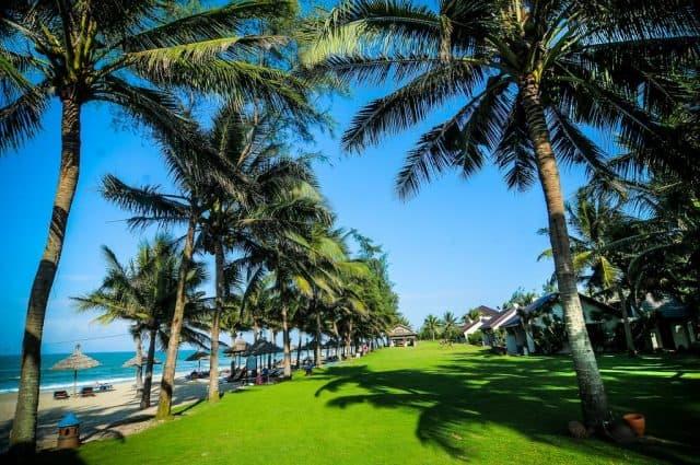 Tọa lạc dọc theo Bãi biển Cửa Đại, Palm Garden Beach Resort nằm giữa 5 ha của những khu vườn kiểng đẹp xanh mát (Ảnh ST)