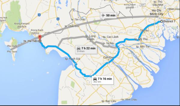 Đường đi từ Hồ Chí Minh đến Hà Tiên