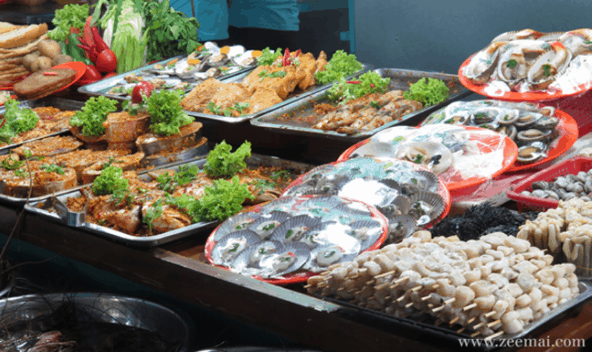 Quầy bán hải sản ăn liền