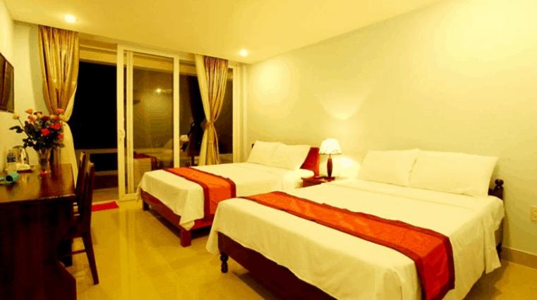 Phòng ngủ đầy đủ nội thất của khách sạn Hải Yên