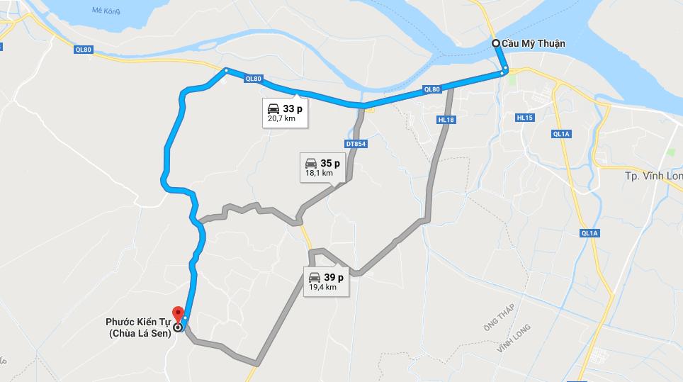 Bản đồ đường đi tới Chùa Lá Sen