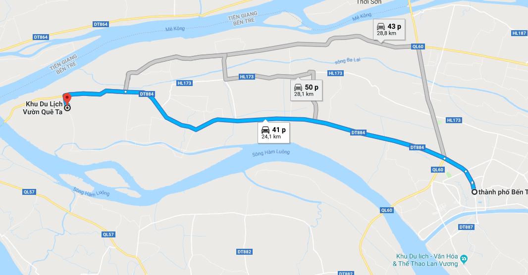 Bản đồ đường đi tới khu du lịch miệt vườn Quê Ta