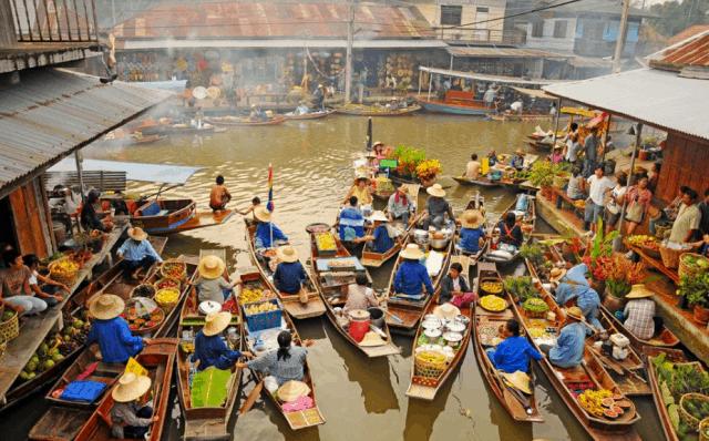 Khu chợ cổ lâu đời nhất - Chợ nổi Damnoen Saduak (Ảnh ST)
